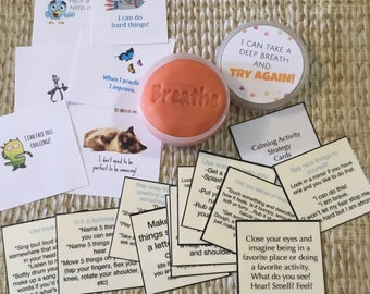 Back to school anxiety/stress toolkit. Kids calm down kit. Breathing exercises. Tactile, hands on.