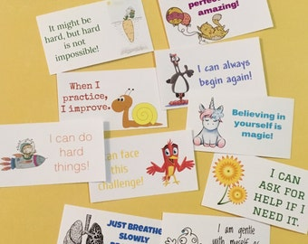 Kids affirmations card set, lunchbox notes, love mom, growth mindset, positive thoughts, back to school stress