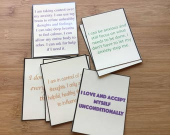 Set of 9 anti anxiety affirmations cards.