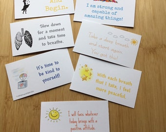 Affirmation card set, thoughtful gift, gift for friend, self care, self love, Positive thinking, breathe, mental health