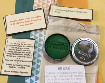 Anxiety lies calm down kit. Breathing, affirmations, distractions. Lime & Eucalyptus dough.