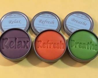 Original stress relief dough 3 pack. Lime and peppermint, lavender and clary sage, orange and ylang ylang.