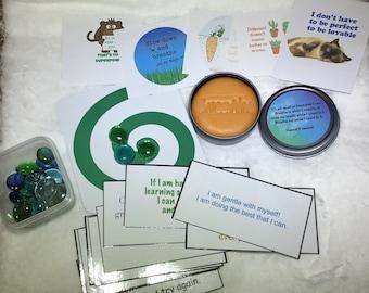 Kids calm down kit. Growth mindset affirmations. Calming activity. Choose dough scent.