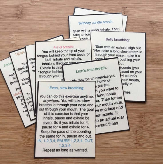 Anxiety Relief Stress Relief Mindfulness Diy Calm Down Kit Download Breathing Exercise Cards Mental Health Breathe Self Care Relax