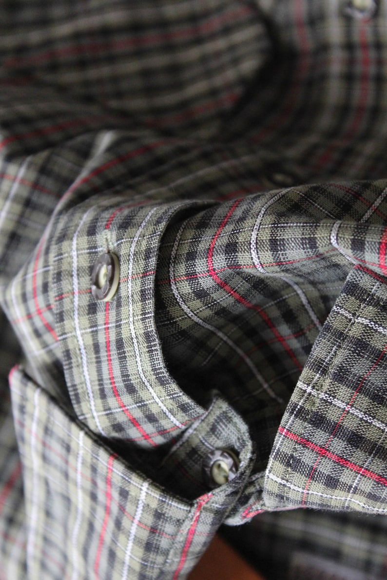 90s Grey plaid shirt Western shirt  Size Large Vintage Gray Mens Checkered shirt
