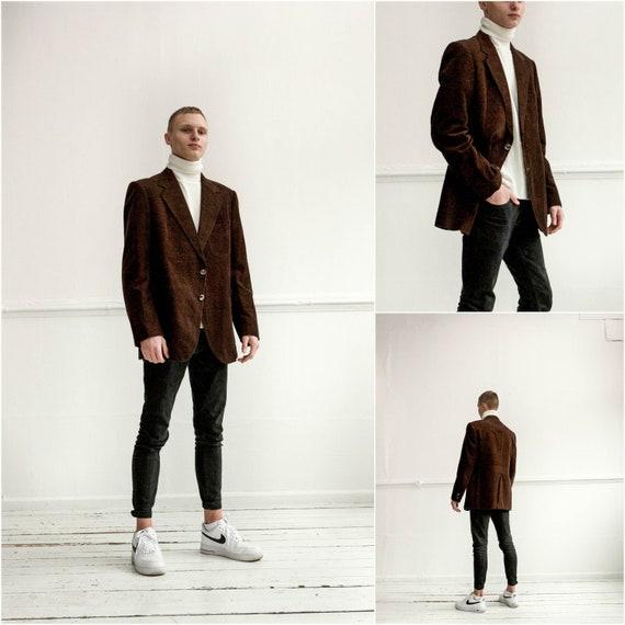 Vintage Dark brown Cord Blazer, Men corduroy blaze