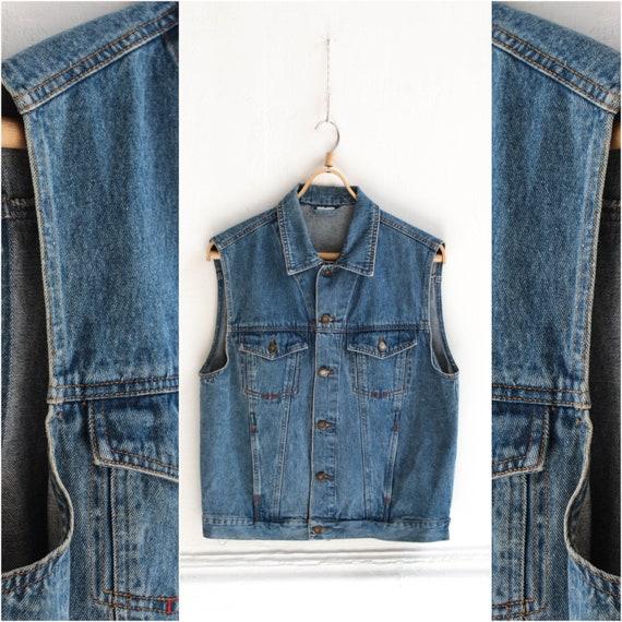 Denim mens vest, Vintage Mid wash jeans Mens vest,