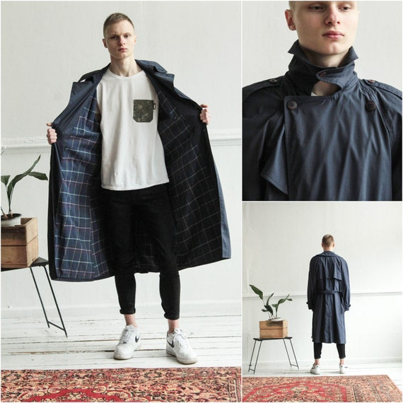 Navy Men Trench coat, Vintage Blue Men duster coat