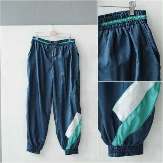 Vintage dark blue track pants, Nylon sport pants /