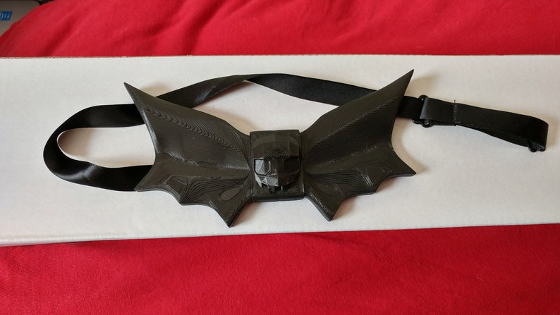 4fc942d1e1a79 3d Printed Bat Wings and Skull Bow Tie