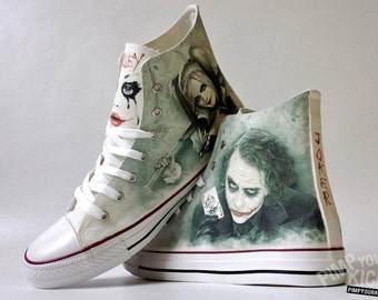 Fanart Joker and Harley requested custom shoe decoration with your name in Joker's card (if you want)