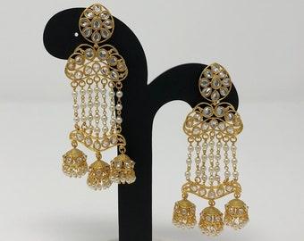 Indian Jewelry - Indian Earrings - Indian Long Earrings - Kundan Earrings - Bollywood Earrings - Bollywood Jewelry -