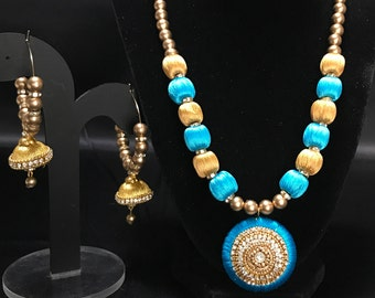 Indian Silk Thread Jewelry - Turquoise Blue and Gold Silk Thread Set - Indian Jewelry - Jhumki Earrings - Indian Bridal - Pakistani Jewelry