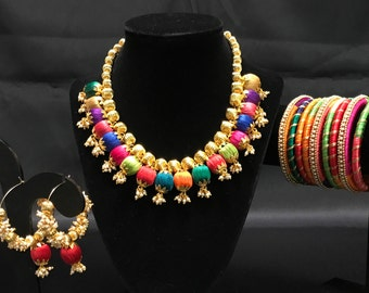 Indian Silk Thread Jewelry - Silk Thread Jewelry Set - Multicolored Jewelry Set - Jhumki Earrings - Indian Bangles - Kangan - Indian Bridal