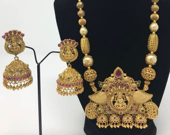 Temple Jewelry Set - Lakshmi Jewelry Set - Temple Earrings - Indian Jewelry - Indian Bridal Jewelry - Jhumki Earrings - Bollywood Jewelry -