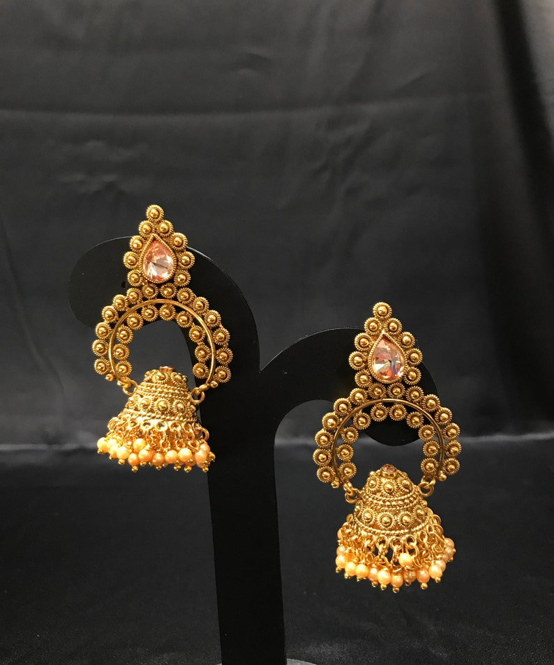 Indian Jewelry - Temple Earrings - Temple Jewelry - South Indian Bridal -  Pakistani Jewelry - Pakistani Bridal - Kundan Jewelry - Jhumki