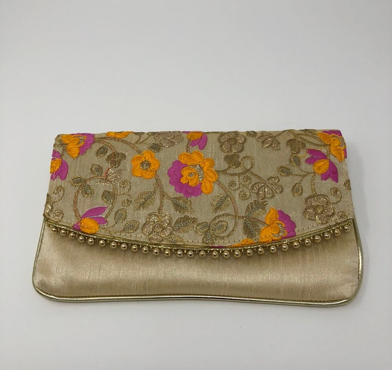 bfb13d107498c Indian Evening Clutch - Indian Purse - Indian Bridal Clutch - Indian  Wedding Purse - Beige Orange Pink Purse - Embroidered Clutch Purse