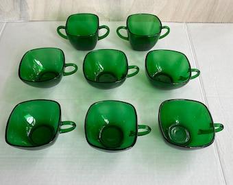 lot of 9 tea cups Indiana Glass Daisy pattern avocado green depression glass