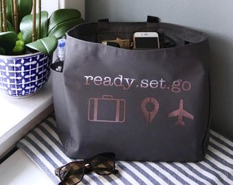 Travel Tote Bag (Zip Option Available)