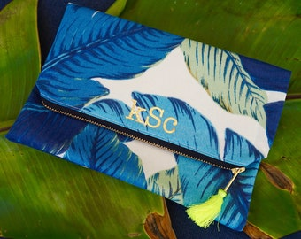 BlueTropical Palm Foldover Clutch