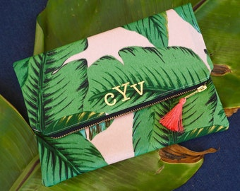 Pink Tropical Palm Foldover Clutch