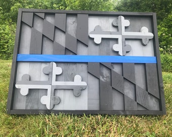 3D Gray Scale Thin Blue Line Maryland Flag - Wall Art - Wooden Maryland Flag - MD Flag - Rustic MD Flag - Maryland - Baltimore