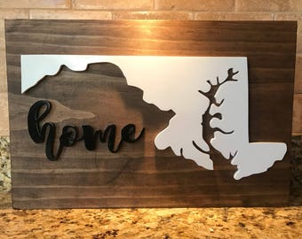 """State of Maryland Outline with Script """"Home"""" Signs - Baltimore - Wood Signs - Rustic Wood - MD"""