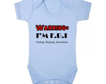 FBI Farts Bumps Insomia Baby Vests Personalise Bodysuits for both Boys and Girl