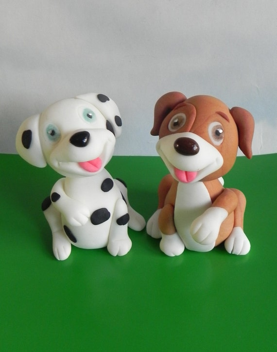Miraculous Fondant Dogs Birthday Cake Dog Cake Topper Etsy Personalised Birthday Cards Paralily Jamesorg