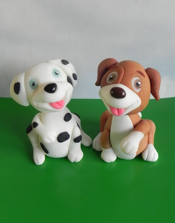Terrific Fondant Dogs Birthday Cake Dog Cake Topper Etsy Personalised Birthday Cards Veneteletsinfo