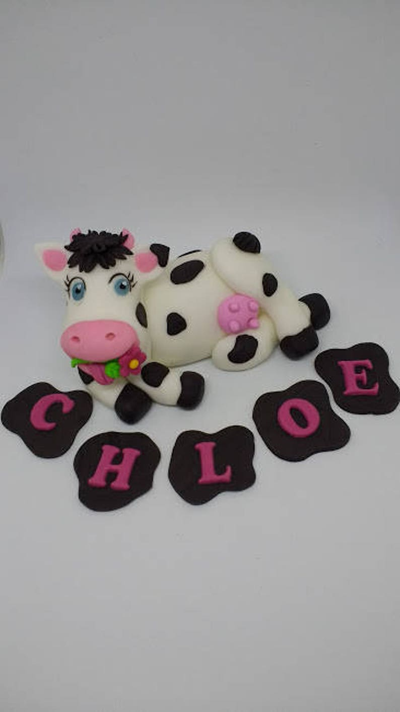 Cow Fondant Cake Topper Birthday Farm Animal