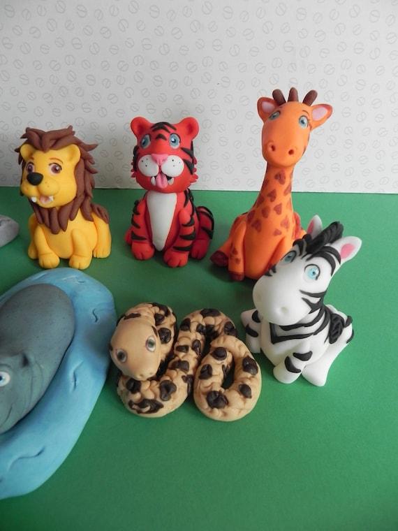 Zoo Tier Fondant Cake Topper Fondant Tiere Geburtstagstorte Etsy
