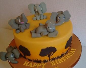 Elephant cake topper, birthday cake