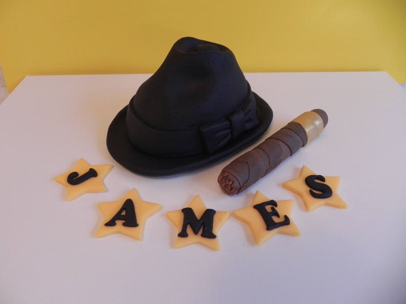 Hat And Cigar Cake Toppers Mens Birthday Fondant