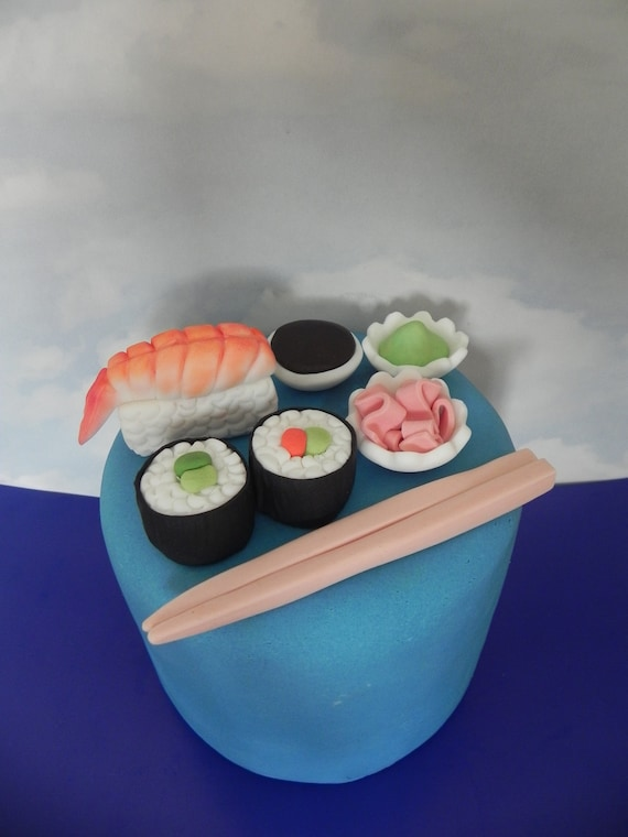 Superb Sushi Fondant Cake Toppers Sushi Cake Birthday Cake Sugar Etsy Personalised Birthday Cards Veneteletsinfo