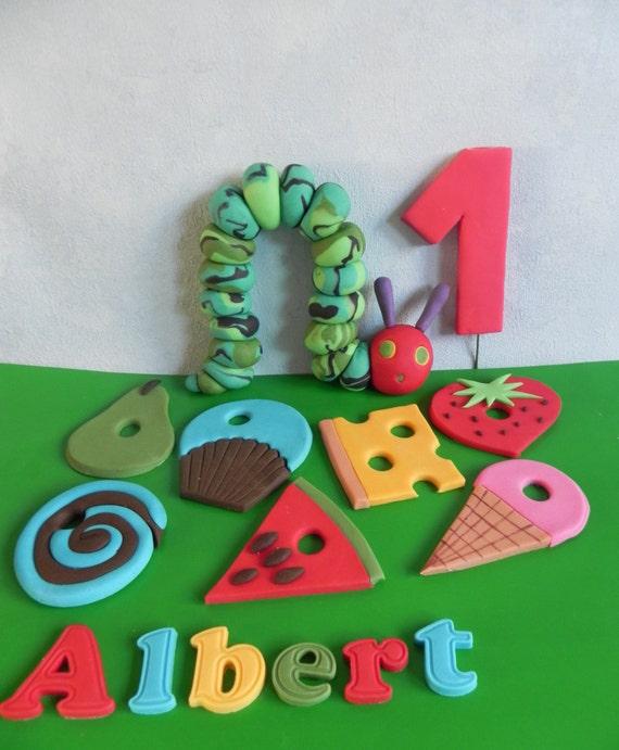Stupendous Caterpillar Cake Topper Birthday Cake Fondant Caterpillar Etsy Personalised Birthday Cards Veneteletsinfo