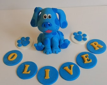 Blues Clues inspired edible fondant  cake topper set with name letters and 2 paw prints