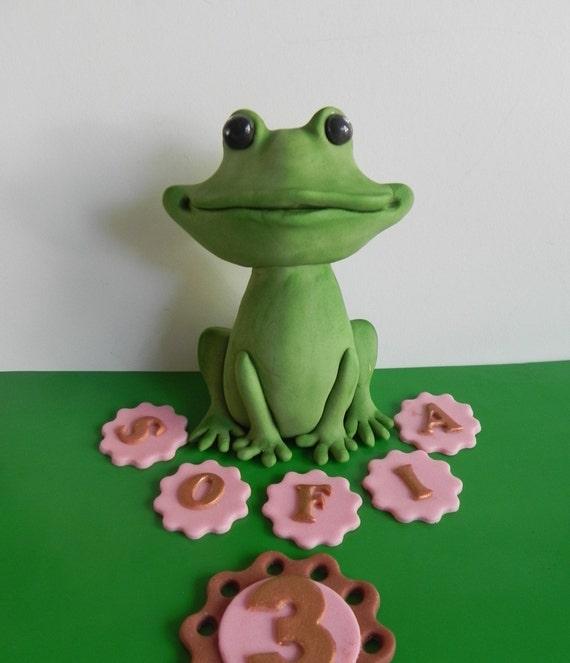 Marvelous Fondant Frog Cake Topper Birthday Cake Frog Decoration Etsy Funny Birthday Cards Online Necthendildamsfinfo