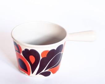 Le Creuset Fondue Pot, Vintage Le Creuset Sauce Pan, Cast Iron Fondue Pot, 1970's Flame Pattern Fondue Pot, Le Creuset 70's Mod Fondue Pot