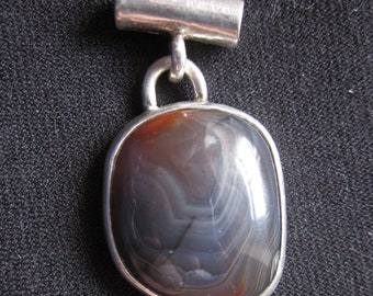 Blue Lake Superior Agate Sterling Silver Pendant