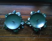 Pair of Green Metal Leaf Candle Holders