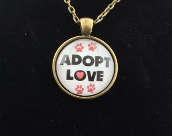 Brass Tone Adopt Love Necklace FREE SHIPPING