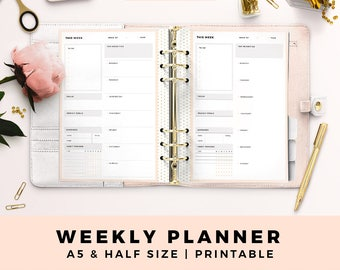 A5 HALF Size Weelky Planner, Week On One Page, Weekly Overview, Personal Printable Planner Inserts