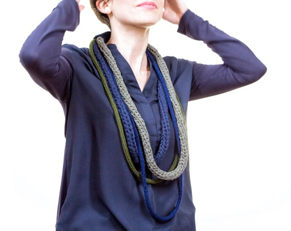 Tulle and wool webbing Necklace, handmade crochet-Blue, olive Green, military Green-Made in Italy