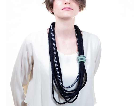 Handmade necklace made of crocheted wool yarn and cotton webbing with rubber applications - Blue and green details - Made in Italy Mod 027