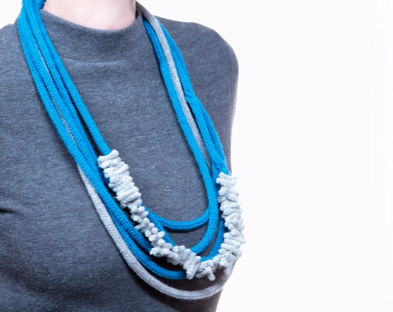 Wool necklace with microfibre inserts, handmade-turquoise and pearl grey, grey details-Made in Italy