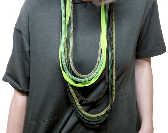 Wool Necklace, cotton, tulle webbing, handmade crochet-green Scale-Made in Italy