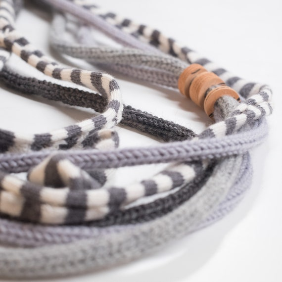 Handmade necklace made of crocheted wool yarn and cotton webbing with rubber applications - Grey and orange details - Made in Italy Mod 025