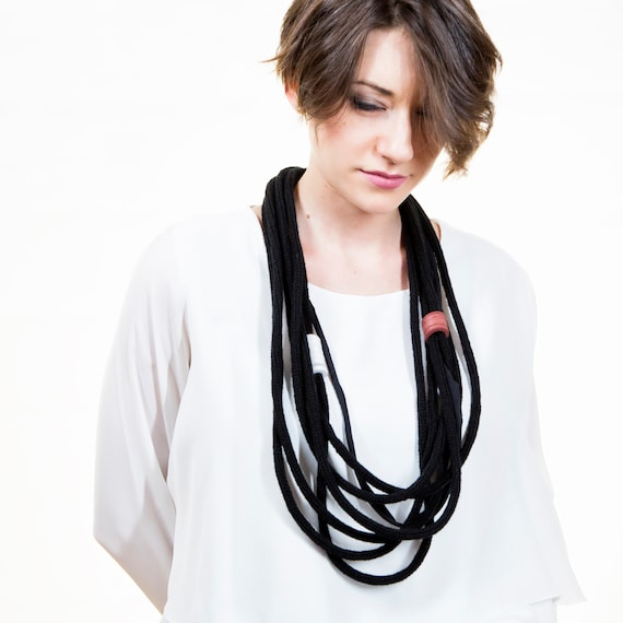 Handmade necklace made of crocheted wool yarn and cotton webbing with rubber applications - Black, white and orange - Made in Italy Mod 020