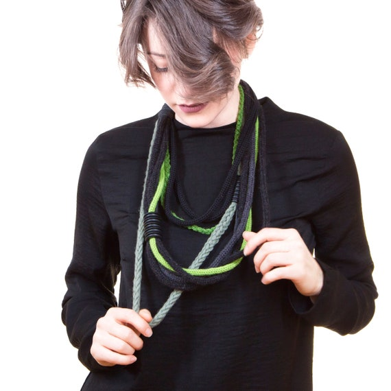 Wool necklace and cotton webbing, rubber inserts, handmade crochet-green, black-Made in Italy